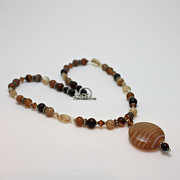 Silver Necklace Art - 3574 Coffee Onyx Necklace by Teresa Mucha