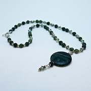 Sterling Silver Jewelry Originals - 3577 Kambaba and Green Lace Jasper Necklace by Teresa Mucha