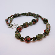 Semi Precious Jewelry - 3579 Unakite Necklace  by Teresa Mucha