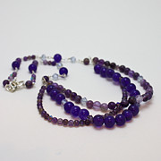 Crystals Jewelry - 3580 Amethyst and Adventurine Necklace by Teresa Mucha