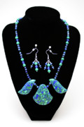 Semi Precious Jewelry - 3582 Lapis Lazuli Malachite Necklace and Earring Set by Teresa Mucha