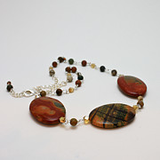 Glass Jewelry Originals - 3586 Picasso Jasper Necklace by Teresa Mucha
