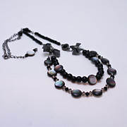 Glass Jewelry Originals - 3587 Fun Gunmetal Necklace  by Teresa Mucha