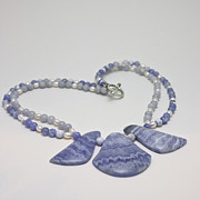 Original Handmade Jewelry Jewelry - 3588 Blue Banded Agate Necklace by Teresa Mucha