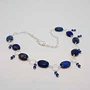 Crystals Jewelry - 3589 Blue Sea Sediment Jasper Necklace by Teresa Mucha