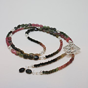 Semi Precious Jewelry - 3590 Watermelon Tourmaline and Swarovski Crystal Necklace by Teresa Mucha