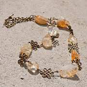 Semi Precious Jewelry - 3591 Citrine Nugget and Antiqued Brass Necklace by Teresa Mucha