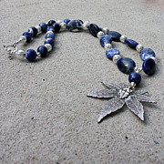 Fun Jewelry - 3593 Sodalite and Silver Necklace with Japanese Maple Leaf Pendant  by Teresa Mucha
