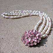 Pink Jewelry - 3594 Freshwater Pearl and Vintage Rhinestone Brooch Necklace by Teresa Mucha