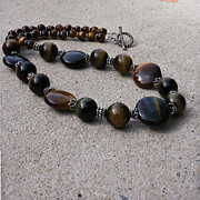 Semi Precious Jewelry - 3595 Tigereye and Bali Sterling Silver Necklace by Teresa Mucha