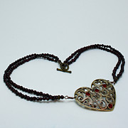Semi Precious Jewelry - 3597 Vintage Heart Brooch Pendant Necklace by Teresa Mucha