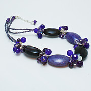Glass Jewelry Originals - 3598 Purple Cracked Agate Necklace by Teresa Mucha