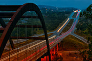 Morning Lights Framed Prints - 360 Bridge Morning Traffic Framed Print by Lisa  Spencer