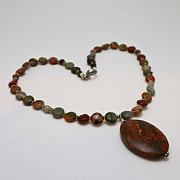Orange Jewelry - 3600 Picasso Jasper Necklace by Teresa Mucha