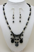 Semi Precious Jewelry - 3601 Black Banded Onyx Necklace and Earrings by Teresa Mucha