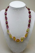 Nugget Necklace Art - 3603 Citrine and Amethyst Cats Eye Necklace by Teresa Mucha