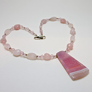 Sterling Silver Jewelry Originals - 3604 Rose Quartz and Agate Pendant Necklace by Teresa Mucha