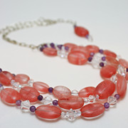 Semi Precious Jewelry - 3606 Cherry Quartz Triple Strand Necklace by Teresa Mucha