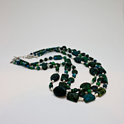 Silver Turquoise Originals - 3609 Australian Jasper Triple Strand Necklace by Teresa Mucha