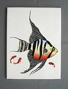 Hand Painted Porcelain Ceramics Posters - 361 Tile with Fishes Poster by Wilma Manhardt