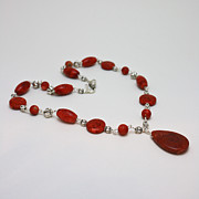 Coral Jewelry - 3611 Red Coral and Indonesian Coral Pendant Necklace  by Teresa Mucha