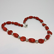 Red Beads Jewelry - 3612 Red Coral Necklace by Teresa Mucha