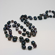 Black Jewelry - 3613 Peacock Freshwater Pearl Rope Length Necklace  by Teresa Mucha