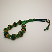 Dark Jewelry - 3616 Austrailian Jasper and Adventurine Necklace by Teresa Mucha