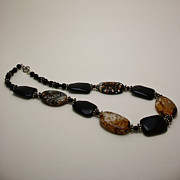 Sterling Silver Art - 3617 Crackle Agate and Onyx Necklace by Teresa Mucha