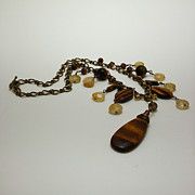 Statement Necklace Art - 3618 Tigereye and Citrine Necklace by Teresa Mucha