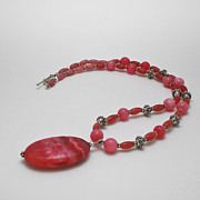 3619 Rhodonite And Bali Sterling Silver Necklace Print by Teresa Mucha