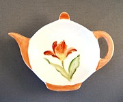 Signed Ceramics Originals - 365 Teabag holder red tulip  by Wilma Manhardt