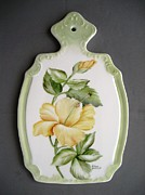 Signed Ceramics Originals - 369 Hybiscus Cheese board by Wilma Manhardt