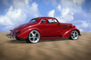 Vintage Car Digital Art Framed Prints - 37 Chevy Coupe Framed Print by Mike McGlothlen