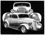 Chevrolet Drawings Metal Prints - 37 Double C Metal Print by Peter Piatt