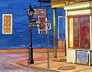 New Orleans Drawings - 37  Gold Mine Saloon with Blue Wall by John Boles