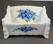 Blue Flowers Ceramics - 377 Cardholder with forget-me-nots by Wilma Manhardt