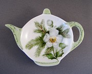 Signed Ceramics - 382 Teabag holder green by Wilma Manhardt