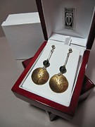 Grey Jewelry Originals - 383 Brass Etched Earring by Brenda Berdnik