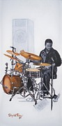 Drums Painting Prints - 383 Tony Austin - drums Print by Sigrid Tune