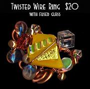 Fused Glass Mixed Media - Twisted Wire Ring by Michelle Lake