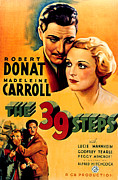 1935 Movies Prints - 39 Steps, The, Robert Donat, Madeleine Print by Everett