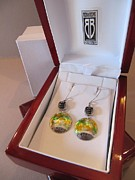 Signed Jewelry - 390 Fine Silver Enamel Earrings by Brenda Berdnik