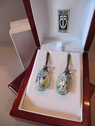 Signed Jewelry - 395 Enamel Sgaffito Earrings by Brenda Berdnik