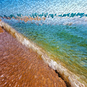 Brown Abstract Digital Art Prints - 3D Blocks Print by East Coast Barrier Islands Betsy A Cutler