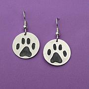 Sterling Silver Jewelry - 3D Dog Paw Earrings by Heather  Hamilton