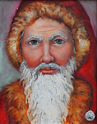 Red Acrylic Prints - 3D Santa by Enzie Shahmiri
