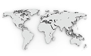 World Map Photos - 3d Silver World Map by Chen Hanquan