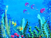 Beaches Reliefs Posters - 3D Under the Sea Poster by Ruth Collis