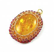 Autumn Jewelry - 3Fine Design Amber Glow Beaded Cabochon by Tracy Behrends